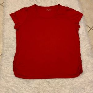 Simply Emma Side Ruched Top Size 3X Red NWT